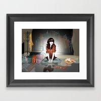 Zooey Deschanel Night Framed Art Print