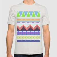 Aztec Pattern; Mens Fitted Tee Silver SMALL
