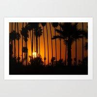 Striped Sunset Art Print
