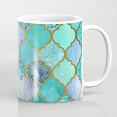 Cool Jade & Icy Mint Decorative Moroccan Tile Pattern Mug