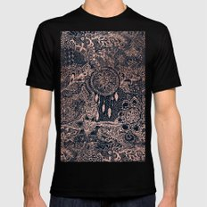Boho rose gold dreamcatcher floral navy blue SMALL Black Mens Fitted Tee