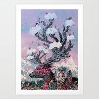 Art Prints featuring Journeying Spirit (deer) sunset by Mat Miller
