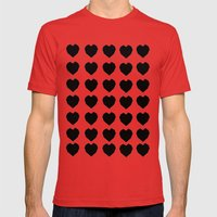 Black Hearts to Crumble Mens Fitted Tee Red SMALL