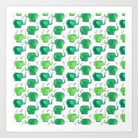 thousands of little green elephants Art Print