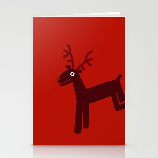 Reindeer-Red Stationery Card