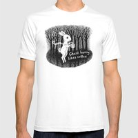 Ghost bunny likes coffee Mens Fitted Tee White SMALL