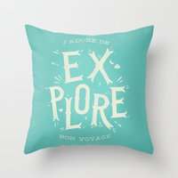 J'adore de Explore Throw Pillow