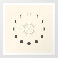 Moon Phases Light Art Print