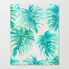 Paradise Palms Blush Canvas Print