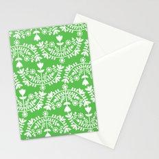 Folk Pattern Green Stationery Cards