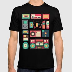 Retro Technology 1.0 SMALL Mens Fitted Tee Black