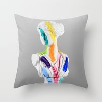 A Grecian Bust With Colo… Throw Pillow
