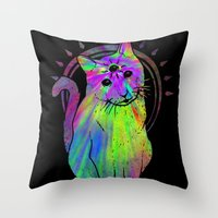 Psychic Psychedelic  Cat Throw Pillow