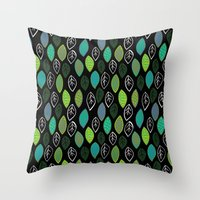 Modern Abstract Leaf Pat… Throw Pillow