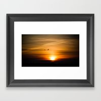 Sunset Silhuettes Framed Art Print