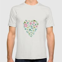 Garden Heart Mens Fitted Tee Silver SMALL