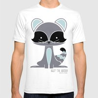 Riley The Racoon Mens Fitted Tee White SMALL