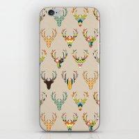 retro deer head on linen iPhone & iPod Skin