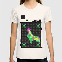 Dubstep Rooster Womens Fitted Tee Natural SMALL