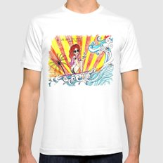if life gives you waves... White Mens Fitted Tee SMALL