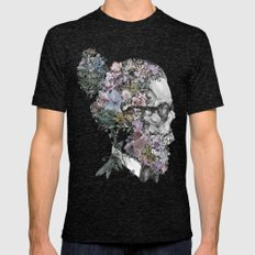 hipster floral skull 3 Mens Fitted Tee Tri-Black SMALL