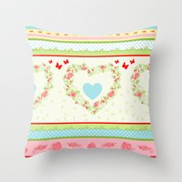 Abstract peace and love Throw Pillow