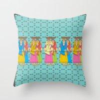 Indian Village Girls Throw Pillow