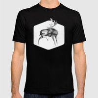 Fallow Deer Stag Mens Fitted Tee Black SMALL