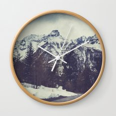 Snow on the Mountains Wall Clock
