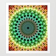 Mandala in yellow, green , orange and red tones Art Print