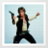 Han With Gun Pixels Art Print