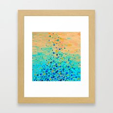 WHAT GOES UP - Cheerful Water Bubbles Aquatic Pattern Cute Turquoise Blue Circles Acrylic Painting  Framed Art Print