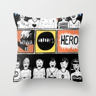 Throw Pillow featuring Superheroes SF by WASTED RITA