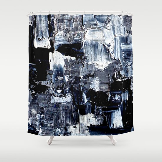 50 Shades... - black & white abstract painting Shower Curtain