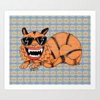 Kickflip Cat Art Print