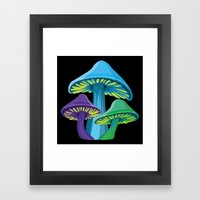 Alice's Shrooms - Dark Framed Art Print