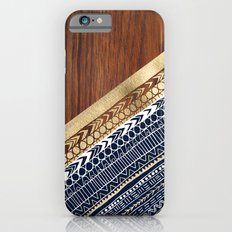 Navy & Gold Tribal on Wood iPhone 6 Slim Case