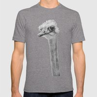 Whats up? - (the ever inquisitive Ostrich) Mens Fitted Tee Tri-Grey SMALL