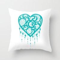 Heart-Catcher Teal Throw Pillow