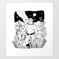 the space cowboy Art Print