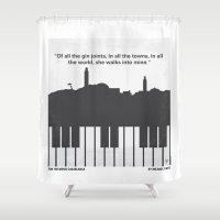 No192 My Casablanca minimal movie poster Shower Curtain
