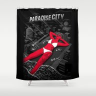 Shower Curtain featuring Cities Of Rock - Los Ang… by Sam Werczler
