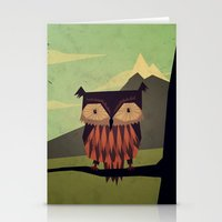 owl Stationery Cards featuring Owl by Yetiland
