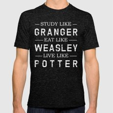 STUDY LIKE GRANGER, EAT LIKE WEASLEY, LIVE LIKE POTTER Mens Fitted Tee Tri-Black SMALL