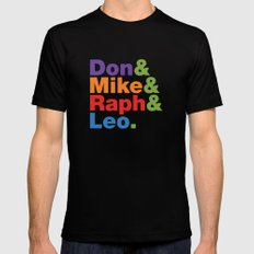 Don & Mike & Raph & Leo. SMALL Black Mens Fitted Tee