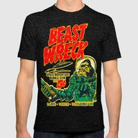 BEASTWRECK ATTACKS! Mens Fitted Tee Tri-Black SMALL