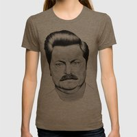 Ron Swanson Womens Fitted Tee Tri-Coffee SMALL