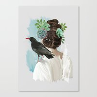 Girl&bird Canvas Print