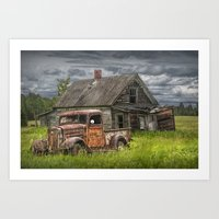 Old Vintage Pickup in front of an Abandoned Farm House Art Print