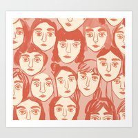 girls Art Prints featuring Girls by leah reena goren